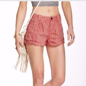 Free People Red Linen Shorts Size 2